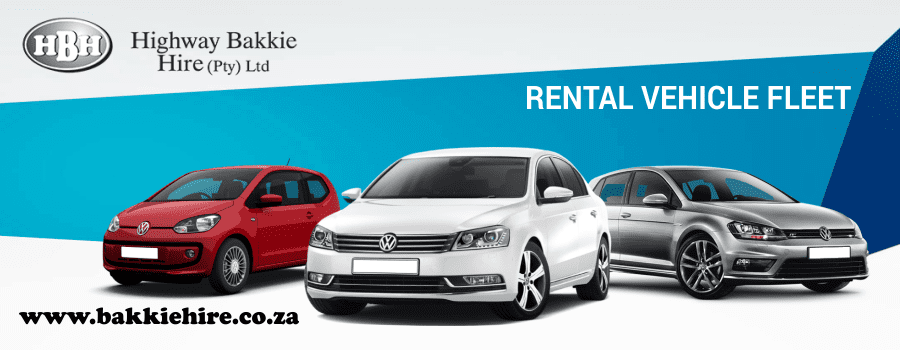 three VW cars in a line promoting the rental fleet